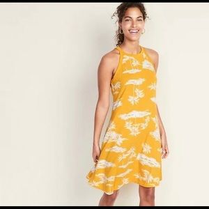 Old Navy Tropical High Neck Swing Dress